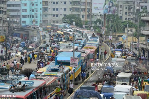 The capital city of Dhaka. Traffic jam in the suburbs of the city of Dhaka, the capital of Bangladesh in June 15, 2015 in Dhaka, Bangladesh