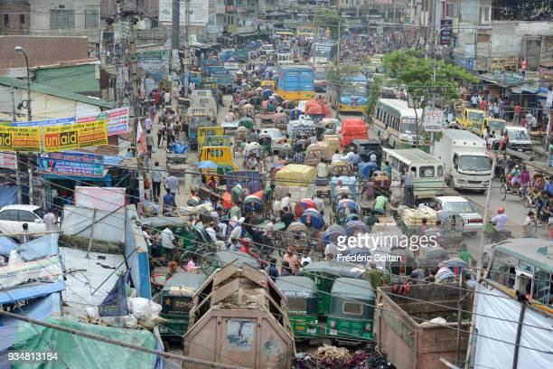 The capital city of Dhaka Traffic jam in the suburbs of the city of Dhaka the capital of Bangladesh in June 15 2015 in Dhaka Bangladesh