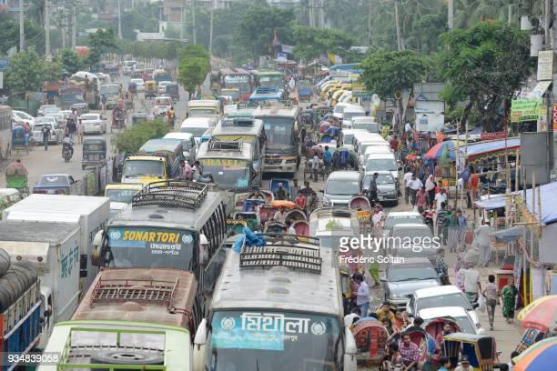 The capital city of Dhaka Traffic jam in the suburbs of the city of Dhaka the capital of Bangladesh on June 16 2015 in Dhaka Bangladesh