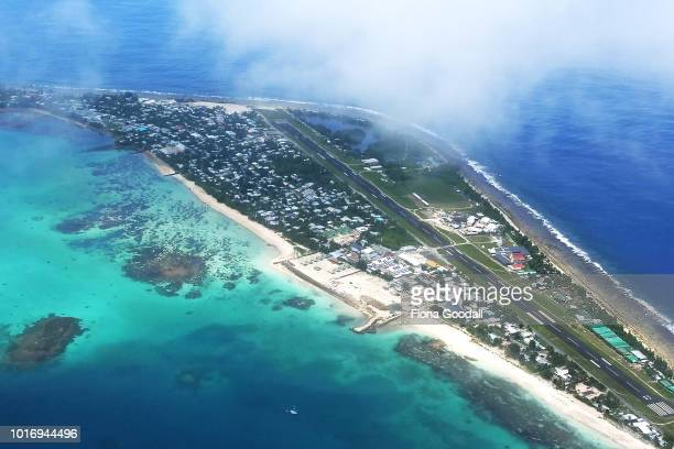 The capital of Funafuti from the air shows an area of successful reclaimation where the Tuvalu Government is now building a convention centre to host...