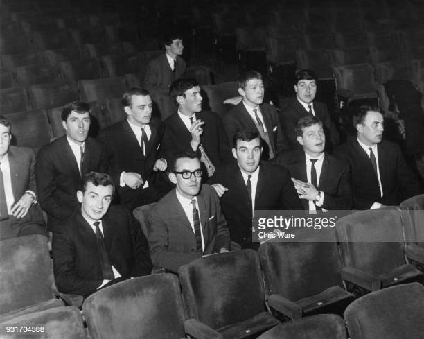 The Capitol Showband and the Davidson Big Four both from Ireland in the stalls of the London Palladium May 1964 From left to right furthest back Pat...