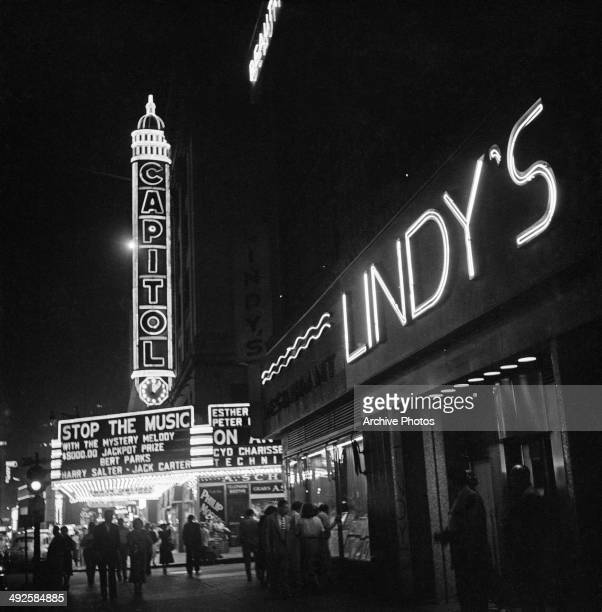 The Capitol Theatre and Lindy's on Broadway New York City USA 1948 'Stop the Music' is showing at the Capitol