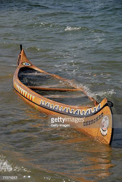 The capsized canoe sits at the shores of lake Tegernsee as rescuers continue their search for a missing crew member of a made for TV movie on 11...