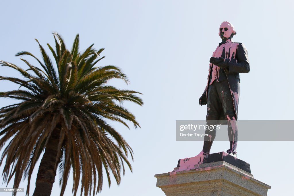 James Cook Statue Vandalised In Protest Of Australia Day : News Photo