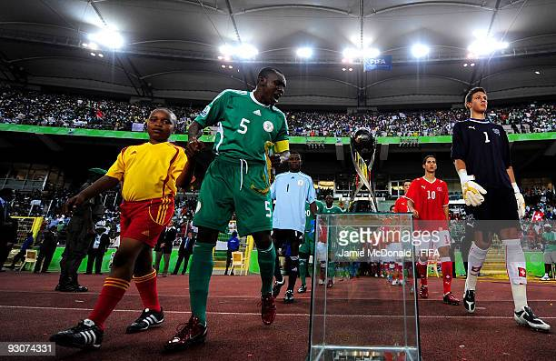 The Captain of Nigeria Fortune Chukwudi looks at the FIFA U17 World Cup during the FIFA U17 World Cup Final match between Switzerland and Nigeria at...
