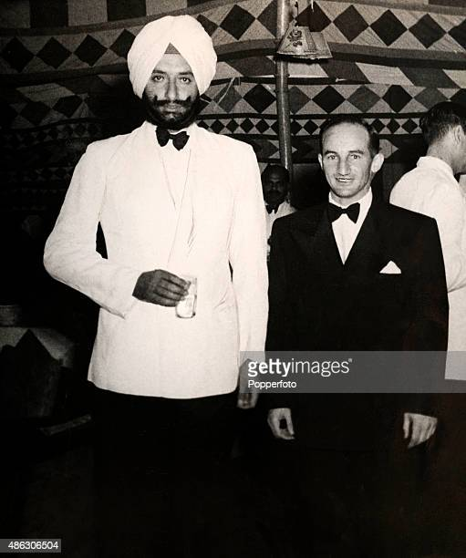The captain of the Commonwealth cricket team Jock Livingston pictured with the Maharaja of Patiala at an official function in Patiala circa October...