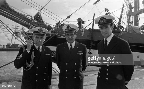 The Captain of the Italian Sail Training Ship Amerigo Vespucci Vincent Angelantoni being welcomed to Ireland by Captain Alfredo Civetta the Italian...