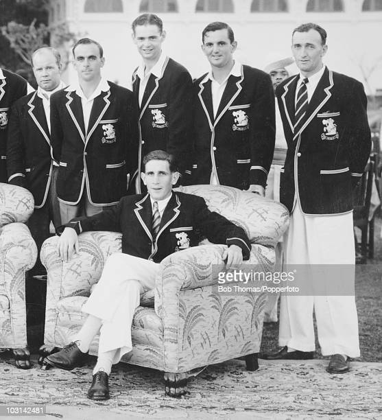 The captain of the MCC Cricket Team Donald Carr pictured with Albert Watkins Fred Ridgway Roy Tattersall Tom Graveney and Don Brennan in Hyderabad...