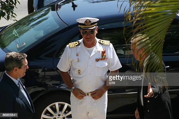 The captain of the Spanish Navy training ship Juan Sebastian Elcano Francisco Javier Romero is welcomed by the mayor's secretary Francisco Sanchez...