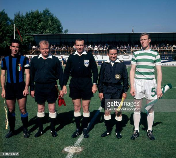 The captains and match officials pose together for the prematch formalities prior to the European Cup Final in Lisbon on 25th May 1967 Left to right...