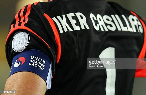The captain's arm band is pictured during the UEFA Champions League group D match between Borussia Dortmund and Real Madrid at Signal Iduna Parkon...