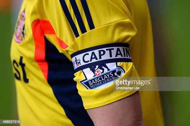 The captain's armband belonging to John O'Shea of Sunderland is seen during the Barclays Premier League match between West Ham United and Sunderland...