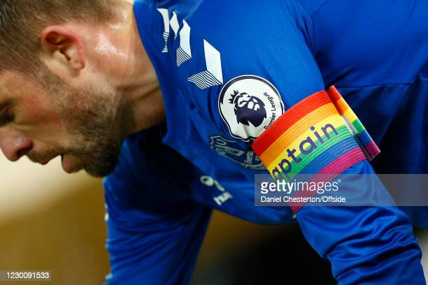 The captains armband in rainbow colours in support of The Rainbow Laces Campaign during the Premier League match between Everton and Chelsea at...