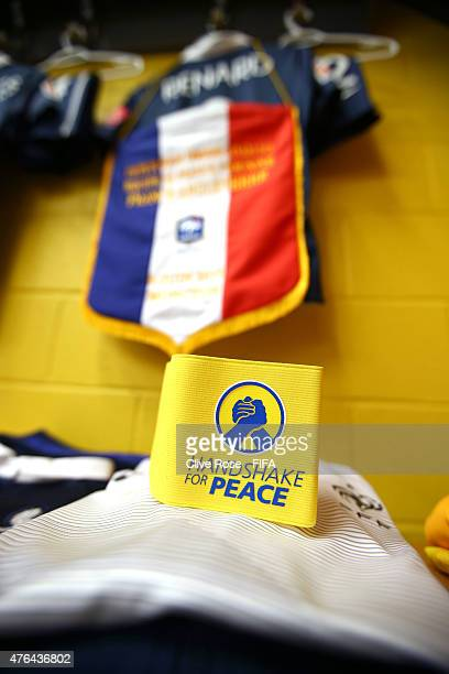 The Captain's armband is seen in the France dressing room ahead of the FIFA Women's World Cup 2015 Group F match between France and England at the...