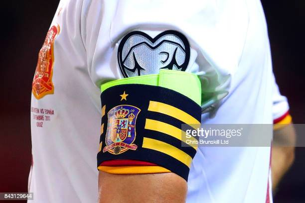 The captain's armband of Andres Iniesta of Spain during the FIFA 2018 World Cup Qualifier between Liechtenstein and Spain at Rheinpark Stadion on...