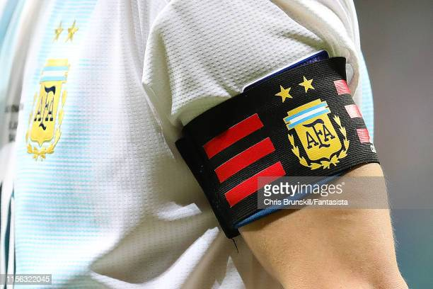 The captain's armband of Lionel Messi of Argentina during the Copa America Brazil 2019 group B match between Argentina and Colombia at Arena Fonte...