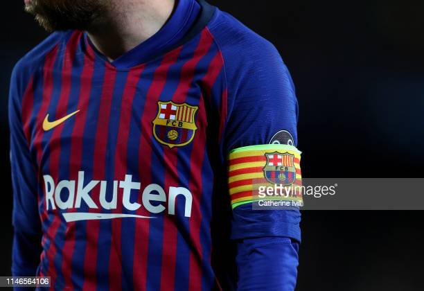 The captains armband of Lionel Messi of Barcelona during the UEFA Champions League Semi Final first leg match between Barcelona and Liverpool at the...