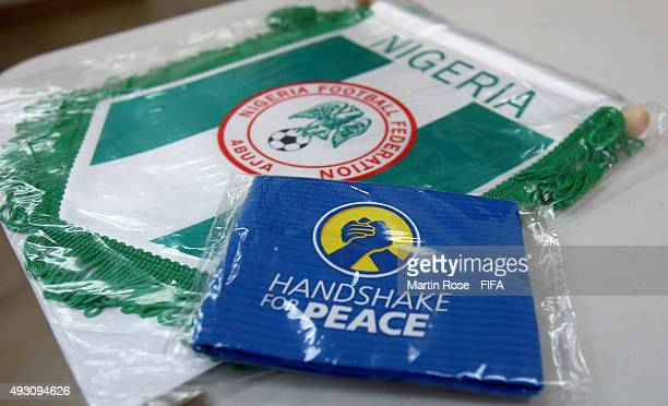 The captains armband of Nigeria is pictured before the FIFA U17 Men's World Cup 2015 group A match between Nigeria and USA at Estadio Nacional de...