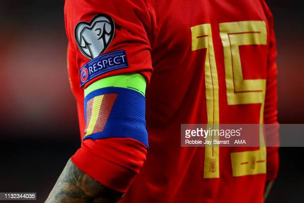 The captains armband of Sergio Ramos of Spain during the 2020 UEFA European Championships group F qualifying match between Spain and Norway at Estadi...