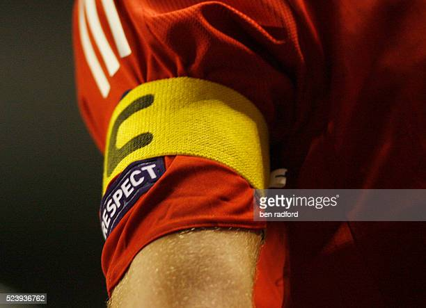 The Captain's armband on the arm of Steven Gerrard of Liverpool during the UEFA Champions League Group E match between Liverpool and Fiorentina at...