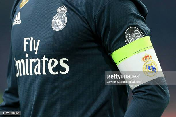 The captain's armband worn by Sergio Ramos of Madrid seen during the UEFA Champions League Round of 16 First Leg match between Ajax and Real Madrid...