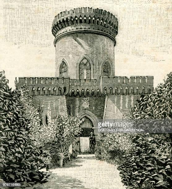 The Captain's Castle Villa Durazzo Pallavicini Pegli Genoa Liguria Italy woodcut from Le cento citta d'Italia illustrated monthly supplement of Il...