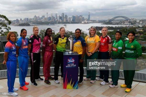 The captains of the competing teams in the Twenty20 women's World Cup in Australia, Thailand's Sornnarin Tippoch, India's Harmanpreet Kaur, New...