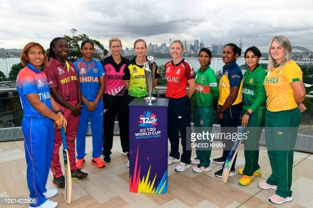 The captains of the competing teams in the Twenty20 women's World Cup in Australia, Thailand's Sornnarin Tippoch, West Indies's Stafanie Taylor,...