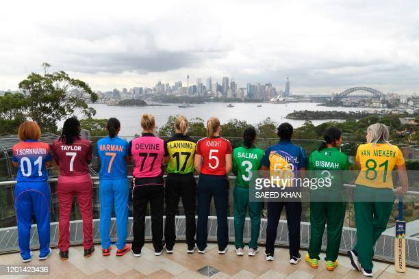 The captains of the competing teams in the Twenty20 women's World Cup in Australia Thailand's Sornnarin Tippoch West Indies's Stafanie Taylor India's...