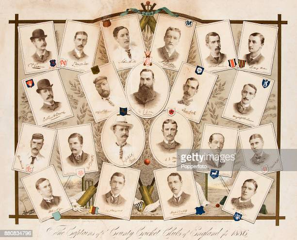 The captains of the English First Class and Minor County Cricket teams with Doctor WG Grace of Gloucestershire CCC in the centre circa 1886 Included...