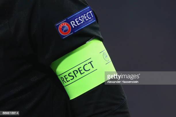 The captian armband with the 'Respect' logo during the UEFA Champions League group B match between Bayern Muenchen and Paris SaintGermain at Allianz...