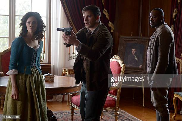 TIMELESS The Capture of Benedict Arnold Episode 109 Pictured Abigail Spencer as Lucy Preston Matt Lanter as Wyatt Logan Malcolm Barrett as Rufus...