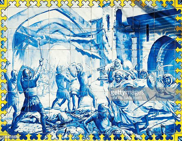 The capture of Ceuta in Morocco August 21 18thcentury Portuguese tile art preserved in Portimao Algarve Portugal 15th century