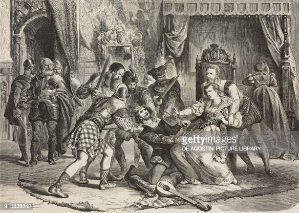 The capture of David Rizzio Italian musician and secretary of Mary Stuart Queen of Scots before his murder in her presence illustration from the...
