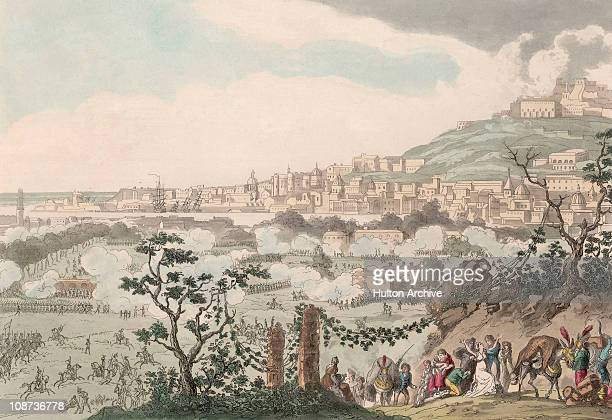 The capture of Naples in Italy during the Napoleonic Wars 1799 Engraved by George Cruikshank from an original design by C Vernet executed in Paris by...