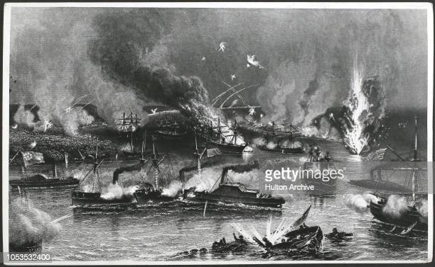 Capture of New Orleans mortar vessels in the distance shelling the forts on the Mississippi as the fleet passes through Across bg l to r Fort St...