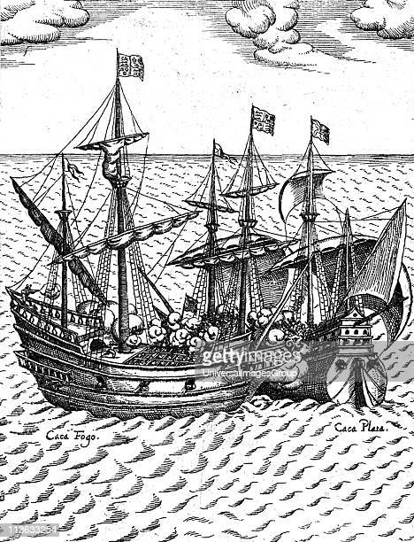 The capture of the Cacafuego the Spanish treasureship by Sir Francis Drake 1579 in the vicinity of Esmeraldas Ecuador Laden with the treasure from...