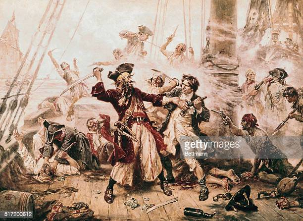 The capture of the Pirate Blackbeard 1718 Painting by J L G Ferris