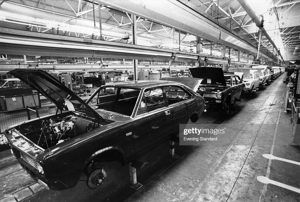 The car assembly line at the British Leyland Plant at Cowley.