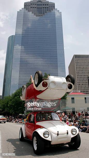 The car called Mirror Image passes through downtown during the during the Everyone's Art Car Parade May 14 2005 in Houston Texas The parade includes...