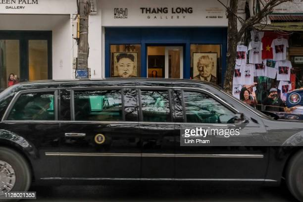 The car carrying US President Donald Trump is seen leaving the summit on February 28 2019 in Hanoi Vietnam US President Donald Trump and North Korean...