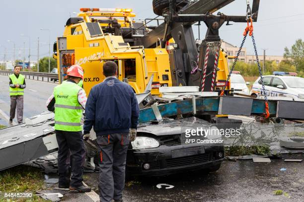 The car driven by a 24yearold man who was killed after the city gate fell on the car he was driving following wind gusts in Timisoara city September...