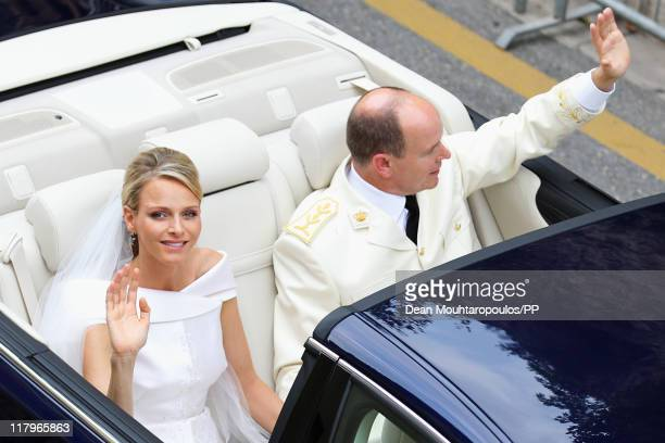 The car drives through the street after the religious ceremony of the Royal Wedding of Prince Albert II of Monaco to Charlene Wittstock on July 2...