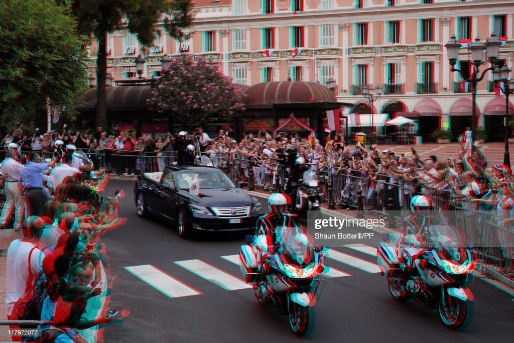 The car drives through the street after the religious ceremony of the Royal Wedding of Prince Albert II of Monaco to Charlene Wittstock on July 2, 2011 in Monaco, Monaco. The Roman-Catholic ceremony follows the civil wedding which was held in the Throne Room of the Prince's Palace of Monaco on July 1. With her marriage to the head of state of the Principality of Monaco, Charlene Wittstock will become Princess consort of Monaco and gain the title, Princess Charlene of Monaco. Celebrations including concerts and firework displays are being held across several days, attended by a guest list of global celebrities and heads of state.