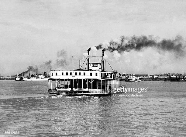 The car ferry boat 'Algiers' crossing the Mississippi River New Orleans Louisiana early 1930s