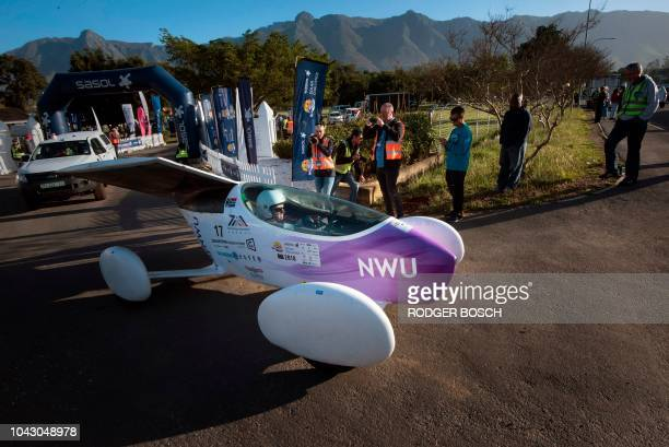 The car from the North West University in South Africa starts the 8th and the final day of the Sasol Solar Challenge on September 29 in Swellendam...
