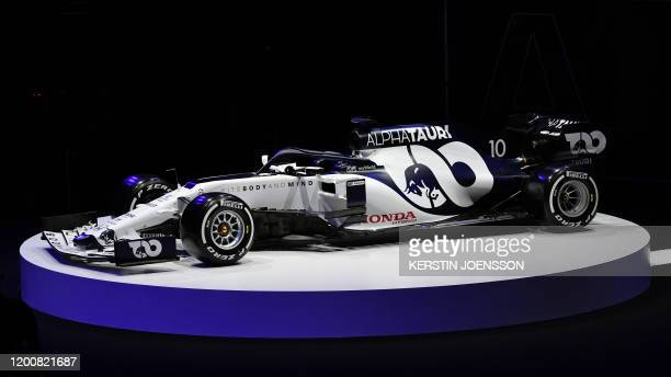 The car is unveiled at the presentation of Italian Formula One racing team Alpha Tauri's new car at Hangar 7 in Salzburg Austria on February 14 2020