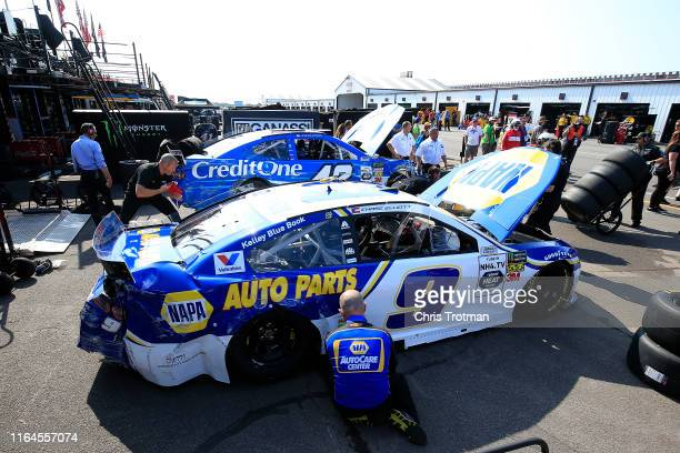 The car of Chase Elliott driver of the NAPA AUTO PARTS Chevrolet sits in the garage after an incident during practice for the Monster Energy NASCAR...