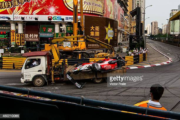 The car of Fortec Motorsport driver John BryantMeisner of Sweden is removed on a cranetruck after he crashed during the Formula 3 event as part of...