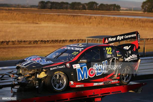 The car of James Courtney driver of the Mobil 1 HSV Racing Holden Commodore VF during race 3 for the Tasmania SuperSprint which is part of the...